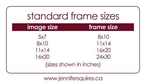 standard artwork frame sizes