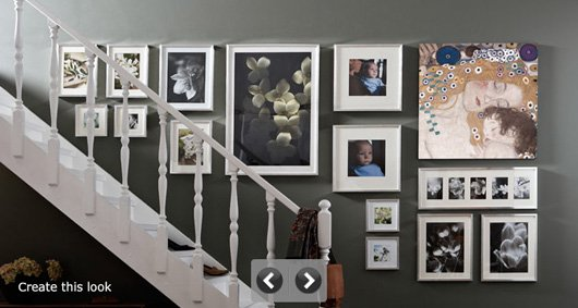 How to hang pictures in a stairway like Ikea