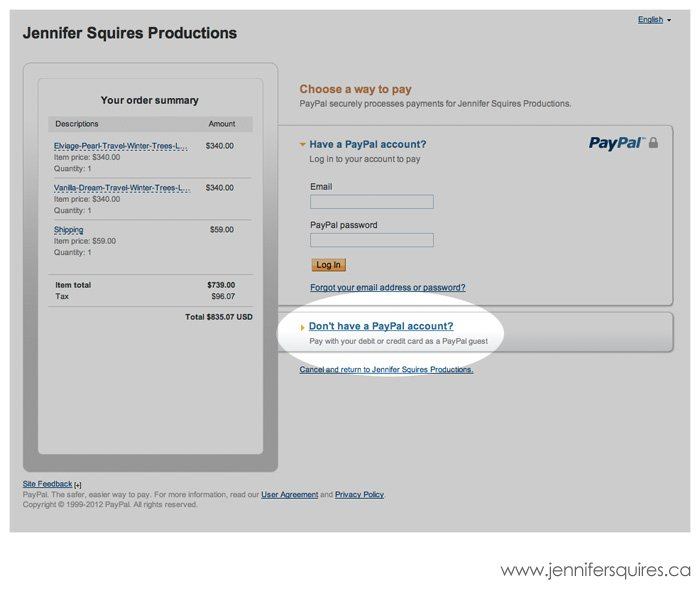 paypal checkout without account