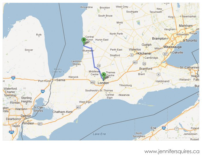London to Bayfield Map Landscape Photograph   Emerge