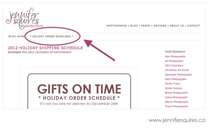 2012 holiday shipping deadlines menu 2 2012 Holiday Order Schedule