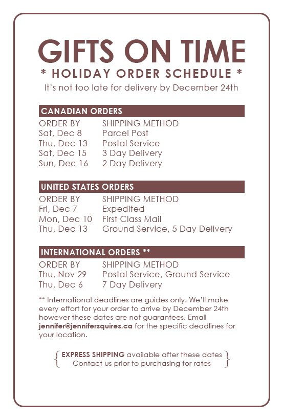 2012 holiday shipping deadlines with express shipping 2012 Holiday Order Schedule