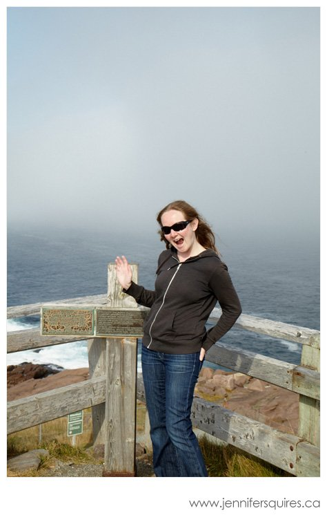 Jennifer Squires Ross in the fog at Cape Spear, Newfoundland, Canada