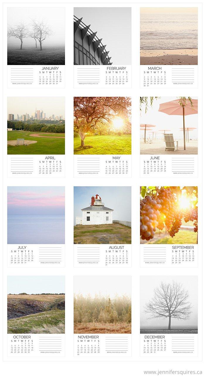 2014 Landscape Calendar Months