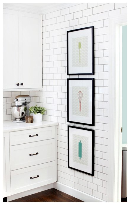 kitchen art on narrow wall Hanging Pictures in a Kitchen
