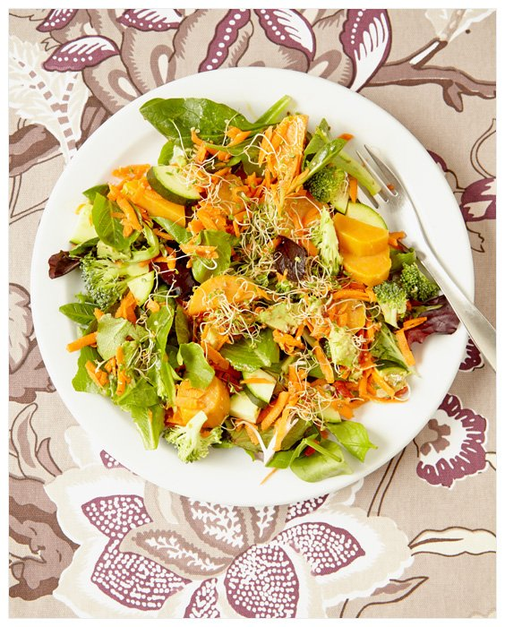 Food Photography Salad with Sprouts Kitchen Art + Hemp Dressing Recipe