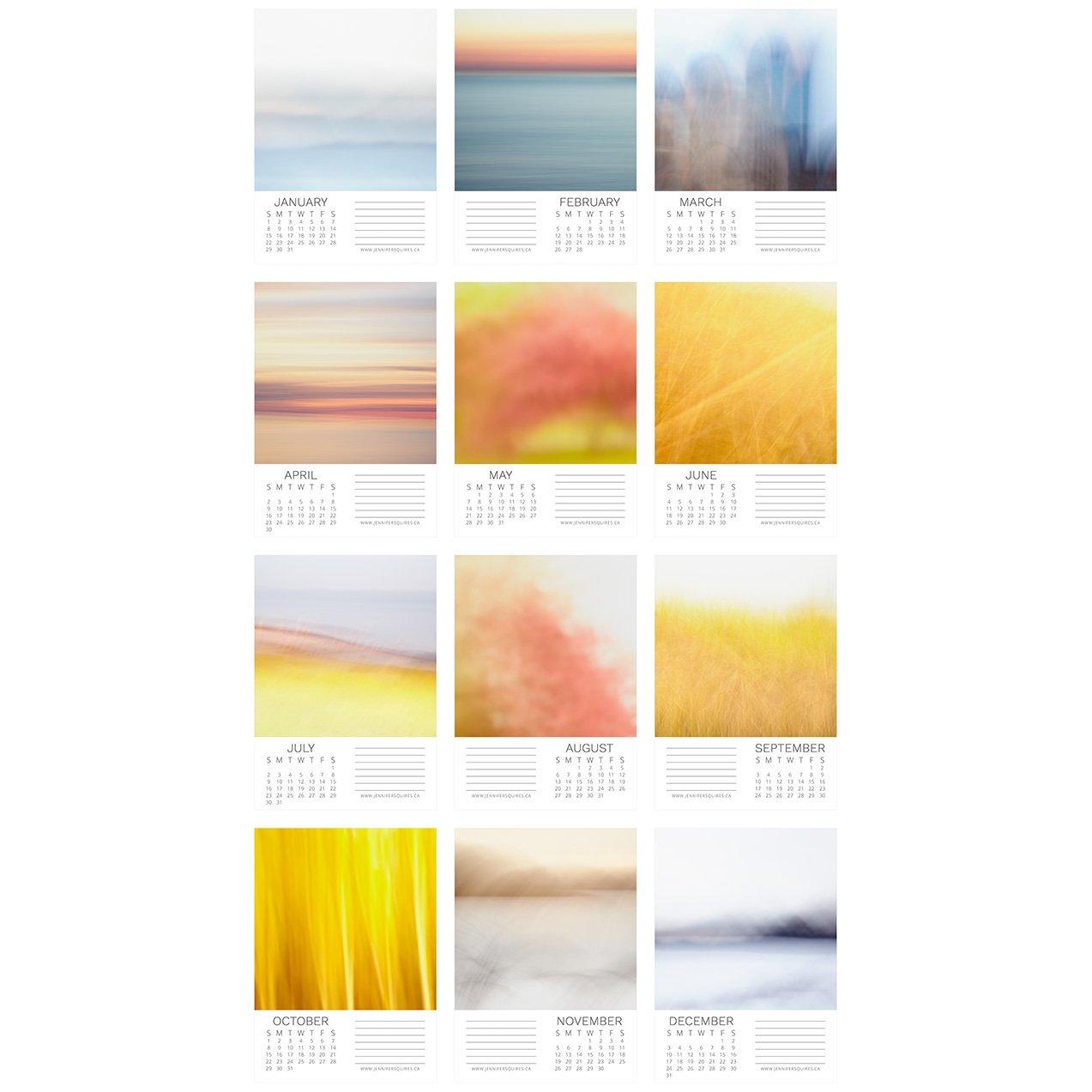 Calendar Abstract Art : Soothing abstract art calendar colourful landscape