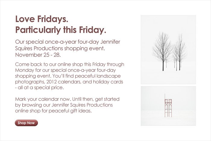 black friday cyber monday sale 2011 jennifer squires productions. Black Bedroom Furniture Sets. Home Design Ideas