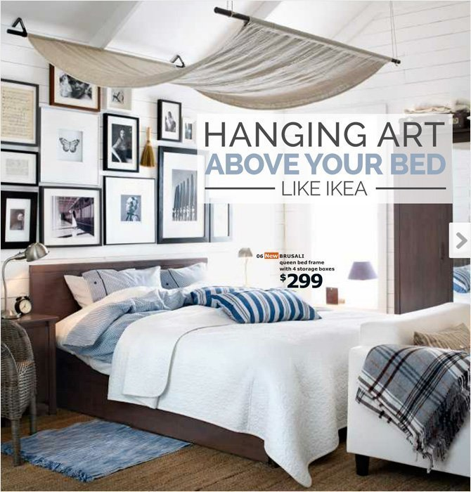 Attirant Hanging Art Above A Bed Like Ikea