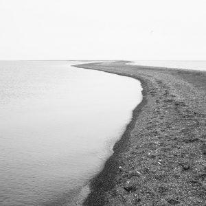 Walking Meditation - Black and White Seascape Photograph