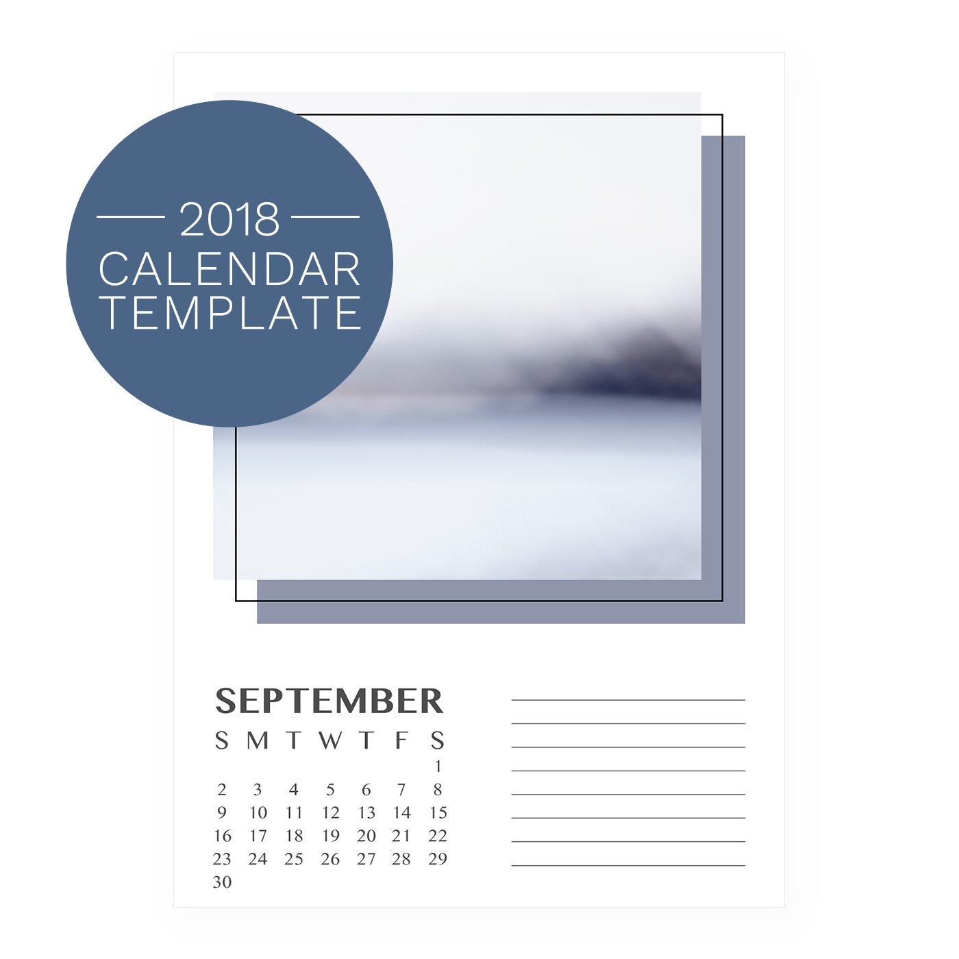 2018 Calendar Template - Retro