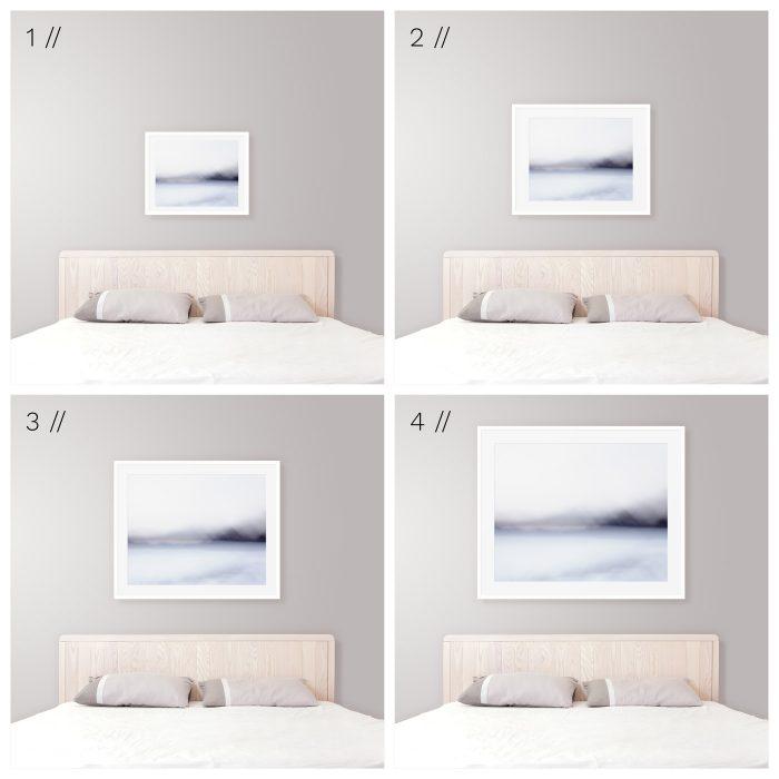 Ideal Framed Art Size Above King Bed - Modern Coastal Bedroom Decor Tips