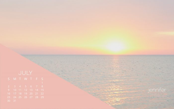 July 2017 Calendar // Caribbean-Style Sunset Over Lake Huron