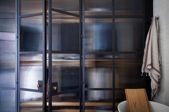 modern closet doors ribbed glass