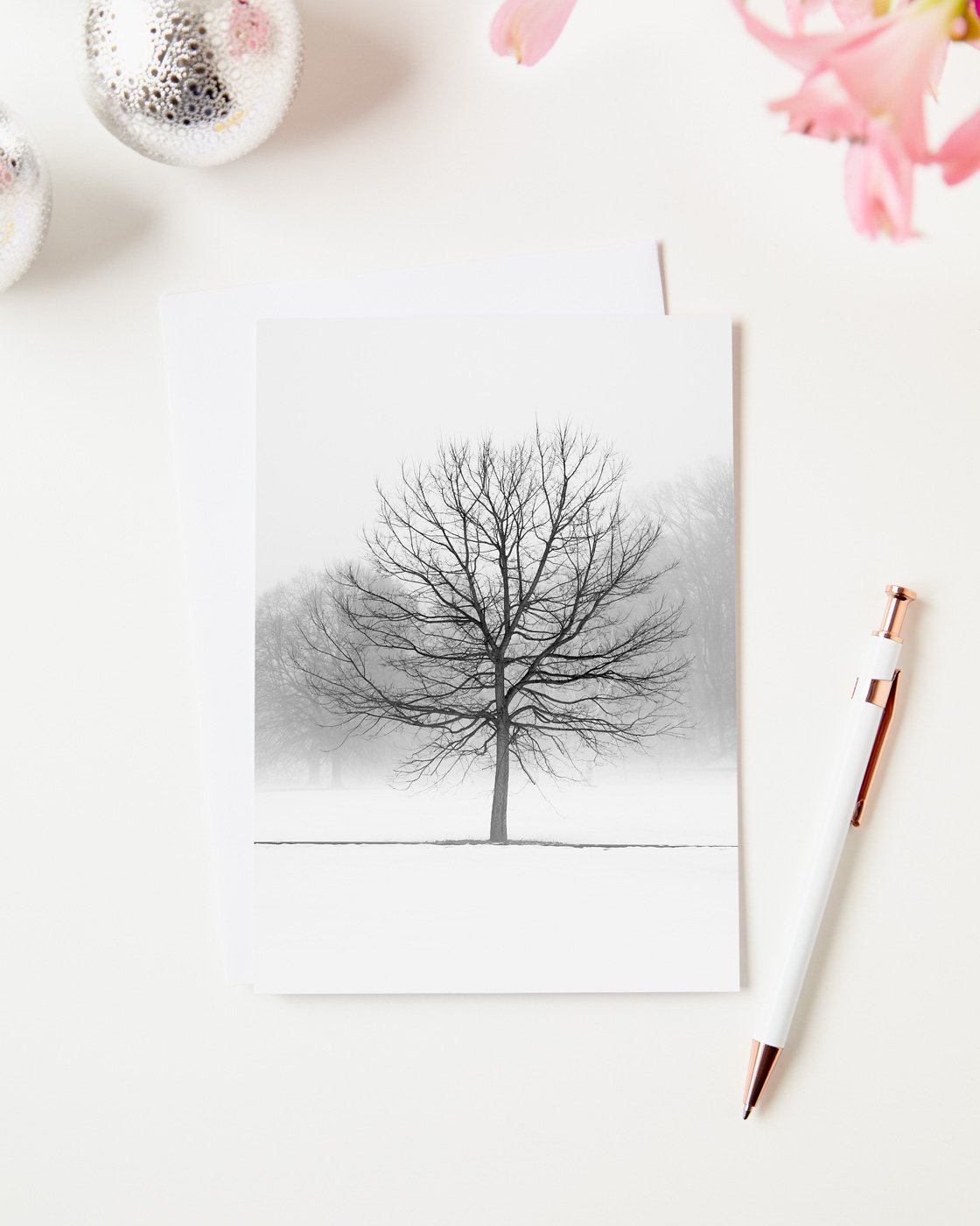 Tree Christmas Greeting Cards Vanilla Dream Black And White Picture