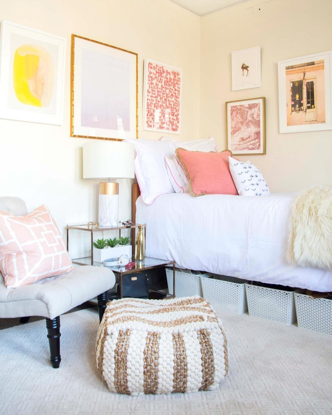 Bedroom Wall Art With Designer Thou Swell In Blush And Blue