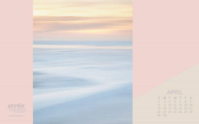 April 2018 Calendar - Pretty Winter Beach Sunset Wallpaper