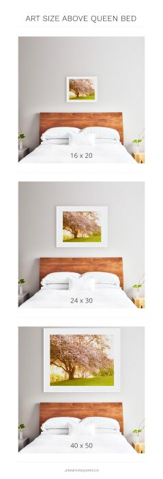 best art size above queen bed - framed