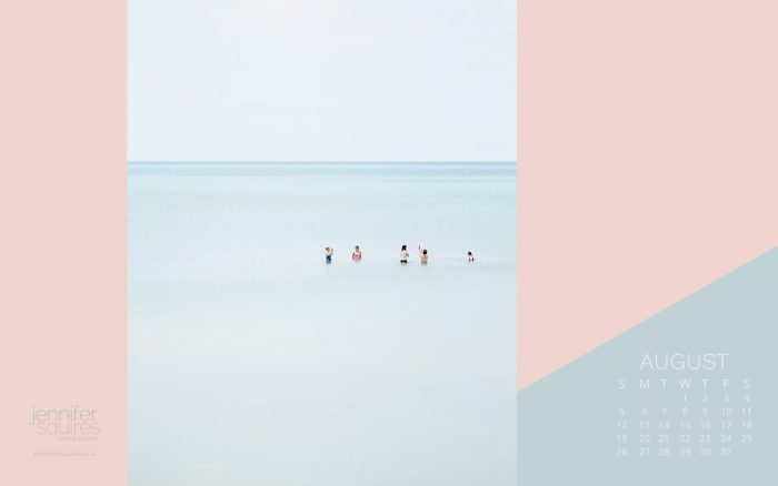 August 2018 Calendar - Beach Wallpaper for iPhone and Desktop