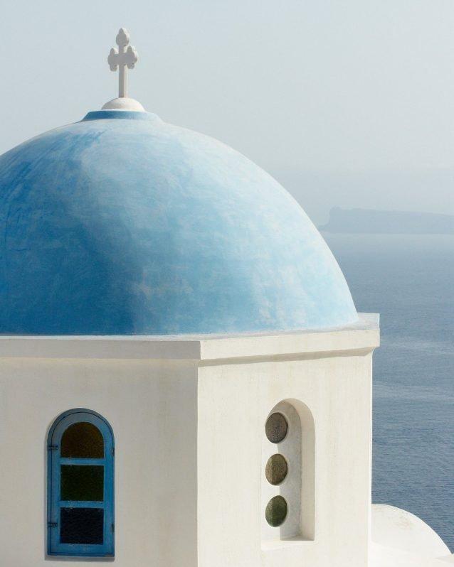 Santorini Blue Domed Church - Greece Travel Photography