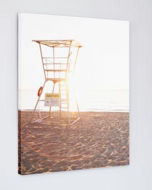 Evening Lifeguard Station, Grand Bend - Beach Scene on Canvas
