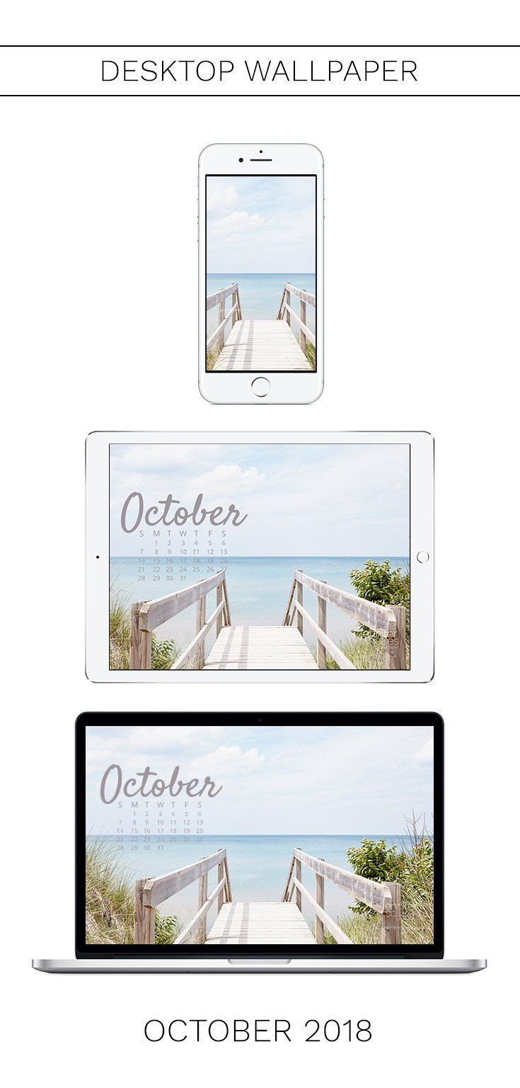 October 2018 Calendar - Coastal Wallpaper for iPhone and Desktop
