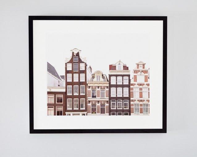 Bloemenmarkt Canal Houses - Framed Amsterdam Canal Houses Photo